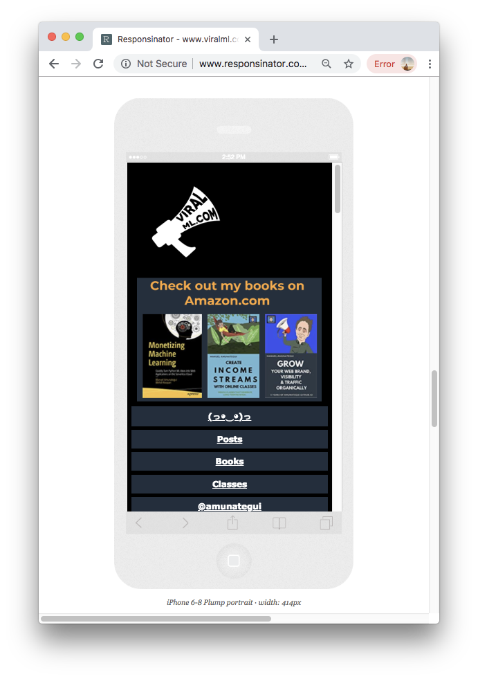 Mobile View of ViralML.com